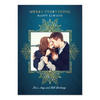 Elegant Golden Snowflakes Holiday Photo Card