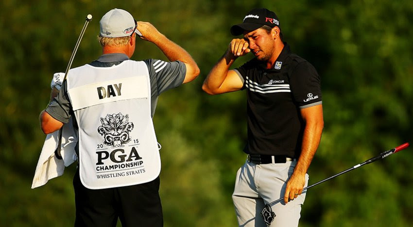 Day and caddie overcome with emotion after win