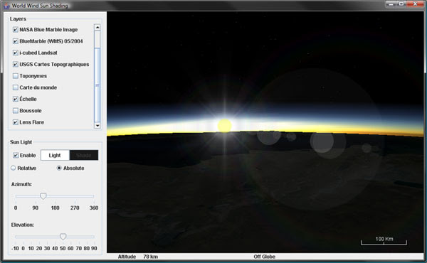 Lens flare and atmospheric scattering in WorldWind Java