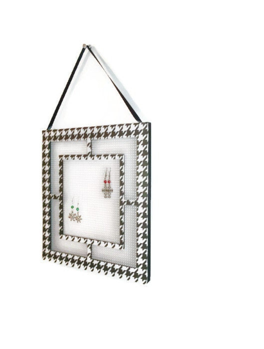 Hanging Earring Tree, Jewelry Organizer, Frame Earring Holder, Houndstooth, Black and White, Geometric Trends, Upcycled Frame - JustAddJewelry