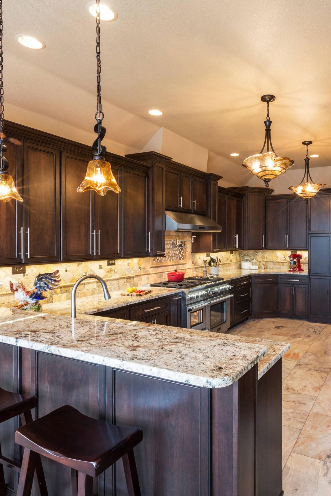 38 Popular White Granite Countertop Dark Cabinets