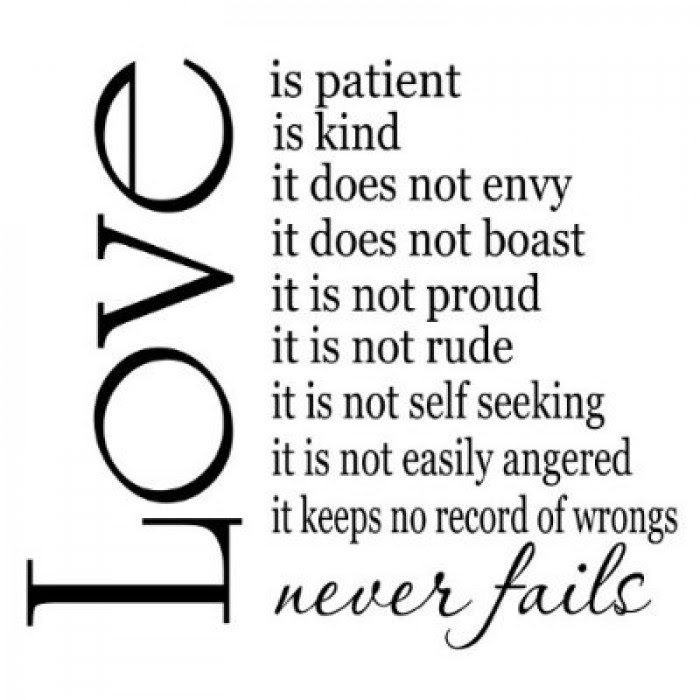Love Is Patient Love Is Kind 22x20 Vinyl Wall Sayings Quotes