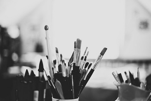 Art Black And White Photo Painting Bw Artist Paint Make Up Brush
