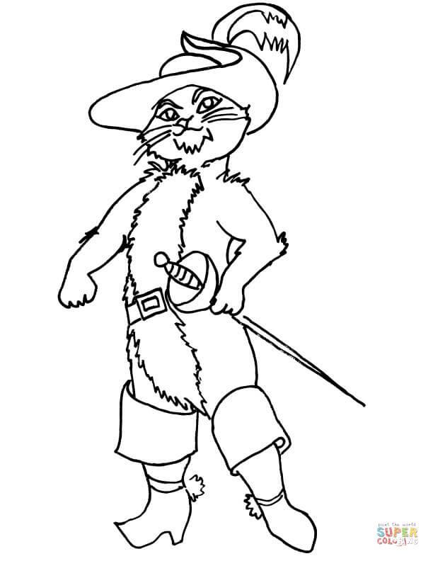 Dibujo De Gato Con Botas Para Colorear Dibujos Para Colorear
