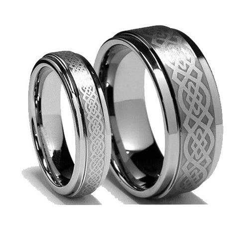 Celtic Knot Titanium Ring Wedding Couple Ring   Titanium