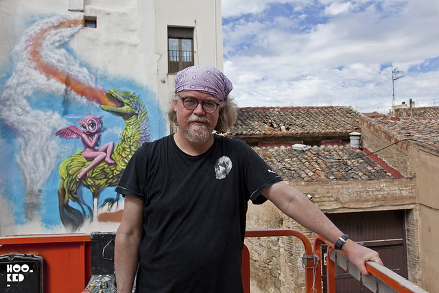 Street Art Mural, Portrait of artist Ron English in Tudela, Spain