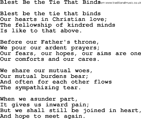 Blest Be The Tie That Binds Lyrics