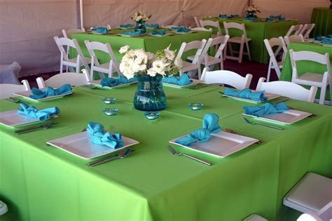 limegreen wedding reception   Orange and Lime Green linens