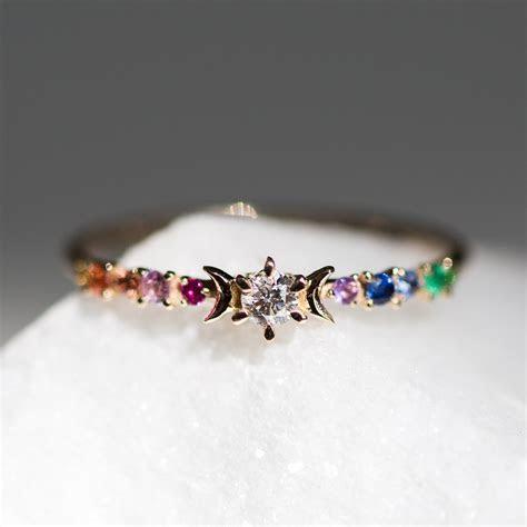 Rainbow Stardust Ring   Wedding & Engagement   Catbird