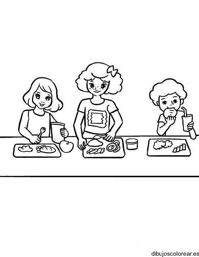 Dibujo De Tres Chicas Comiendo