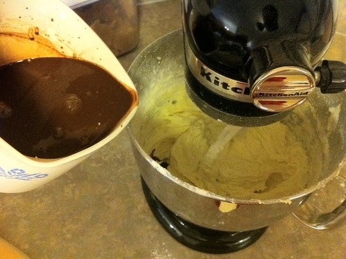 Add 1/2 of Chocolate Mixture