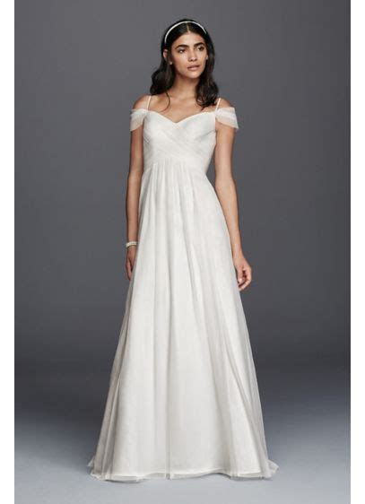 Tulle A line Wedding Dress with Swag Sleeves   David's Bridal
