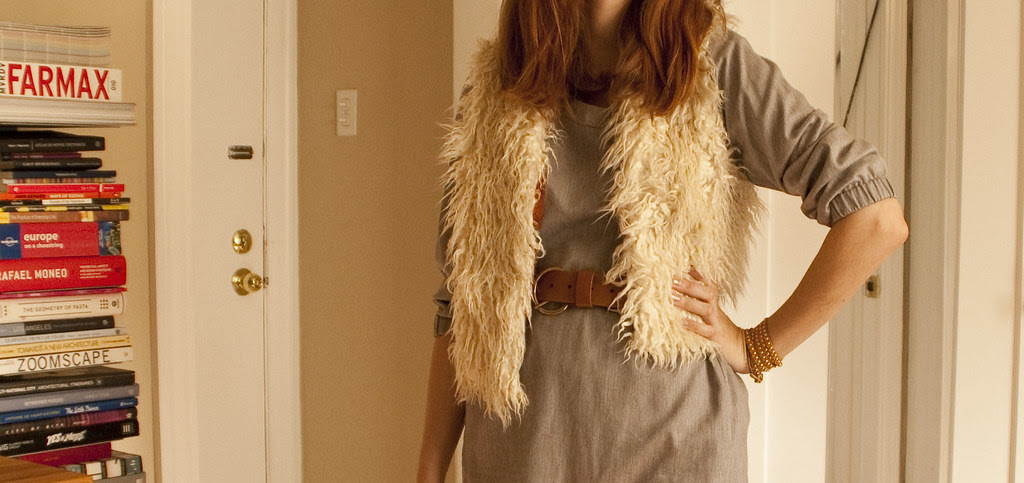 belted furry vest, how to, outfit post, workfit, business casual, what to wear, gray etta dress, oxfords, furry mcfurerson