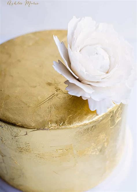 Gold Leaf Cake Tutorial   Ashlee Marie   real fun with