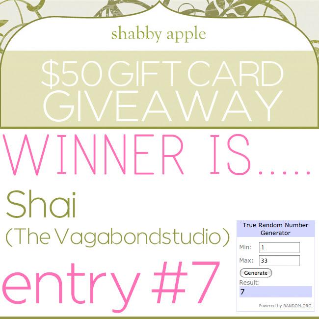 Giveaway winner shabbyapple dec