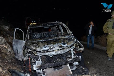 Firebombed car near Maale Shomron