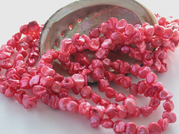 Fresh Water Pearls, Pink Pearls, Padparadscha Colored Fresh Water Keshi Shape Pearls FWP-003 - BeachCastleBeads