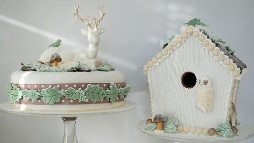 my owl barn  winter woodland cake and gingerbread bird house
