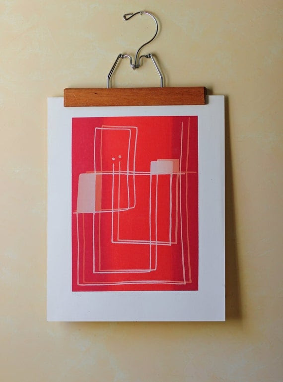 red modern lithograph to frame signed and numbered