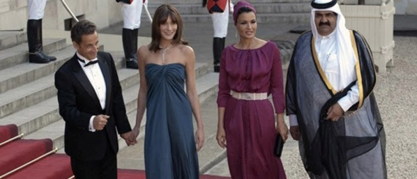 L'ex-couple présidentiel Nicolas Sarkozy-Carla Bruni, et Mozza lifting-Hamad Ben Khalifa, alias Hamad ventre plein de gaz !