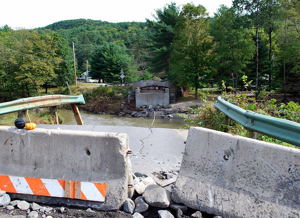 View across the Williams River at the site of the former Bartonsville Covered Bridge that was washed away during the flood waters of Hurricane Irene in August of 2011.