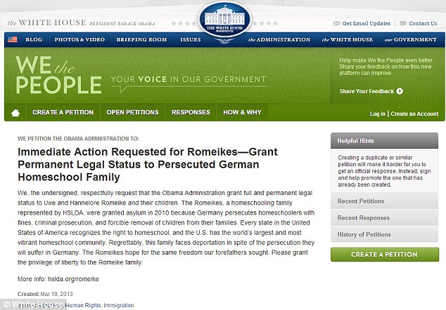 White House petition seeks asylum for German home schooling family
