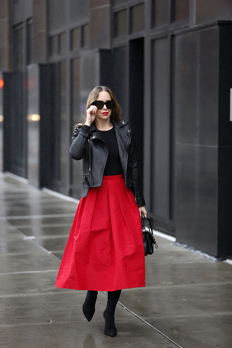 full tibi skirt red, helena glazer of Brooklyn blonde, holiday outfit idea