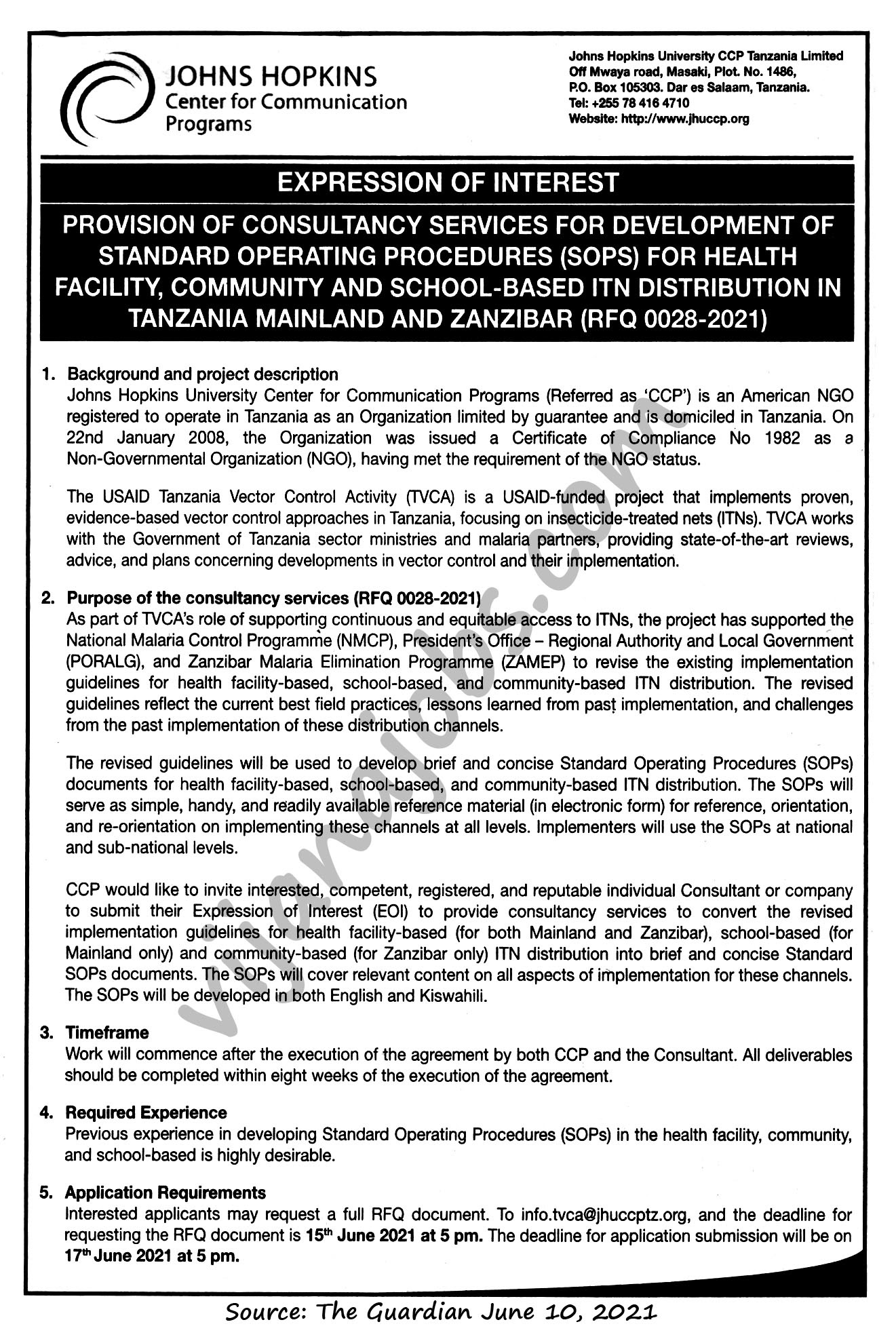 Provision of Consultancy Services for Development of Standard Operating Procedures for Health Facility, Community and School-based ITN Distribution in Tanzania Mainland and Zanzibar