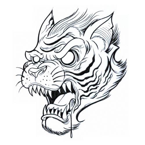 Outline Tiger Head Tattoo Design