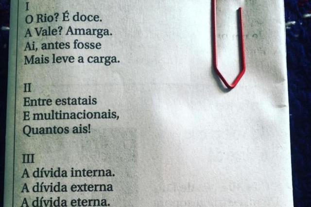 Poema de Drummond sobre o Rio Doce, que circula em redes sociais, nunca foi publicado em livro Reprodução/Facebook