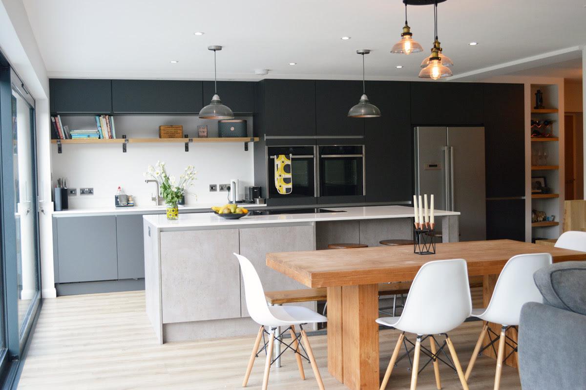 Modern Kitchen Installation in London - Dark Grey Matt and ...