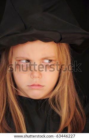 stock photo : Girl disguised as a witch for Halloween