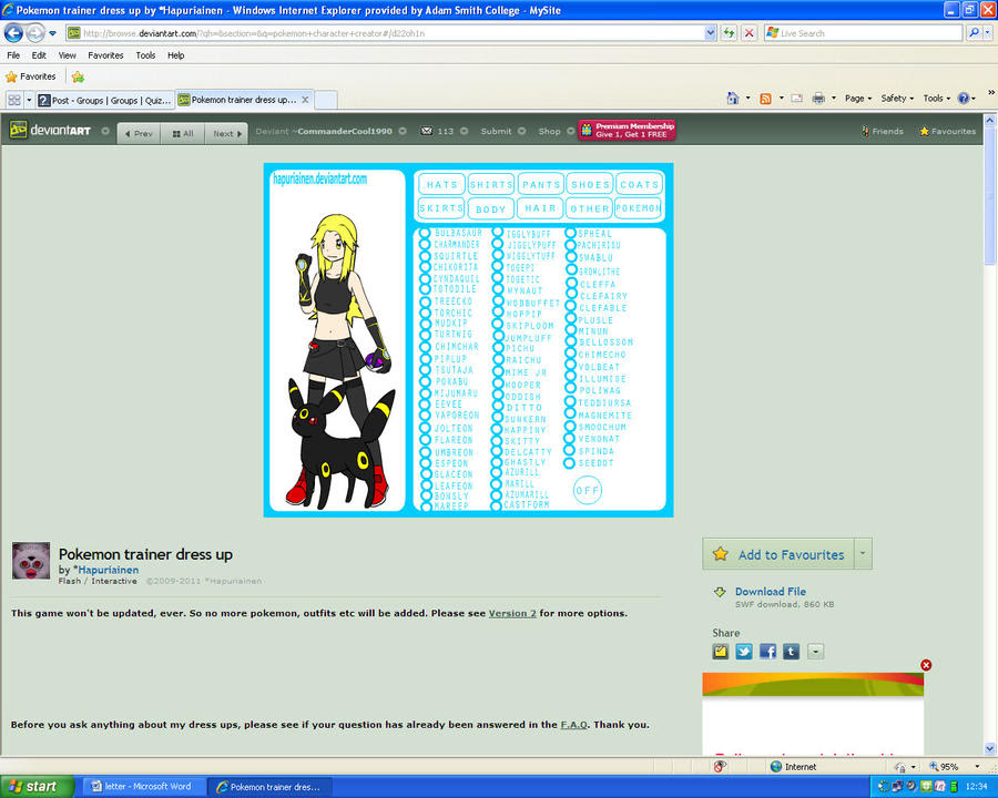 Pokemon Character Creator character by CommanderCool1990