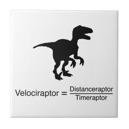 velociraptor funny science tile