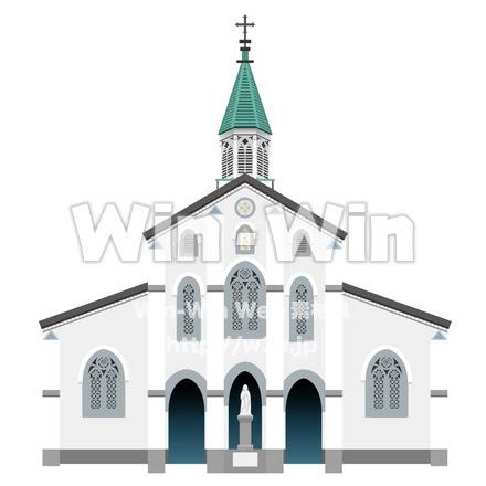 大浦天主堂 W 014182 の無料cgイラスト素材