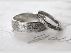 rustic wedding band ring set . custom recycled silver wedding
