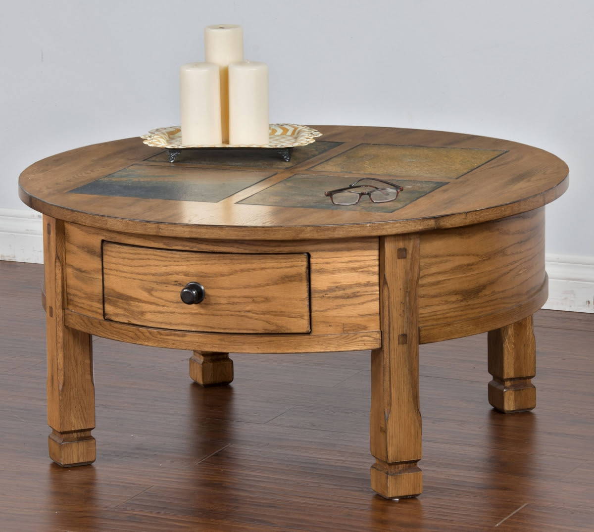 Sedona Traditional Rustic Oak Wood Storage Round Coffee Table The Classy Home