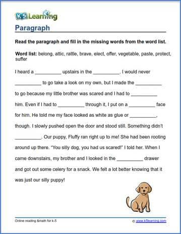 Grade 3 Vocabulary Worksheet Paragraph