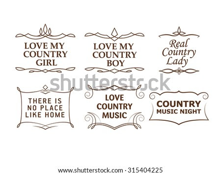 Country Quotes, Strokes Editable Stock Vector Illustration ...
