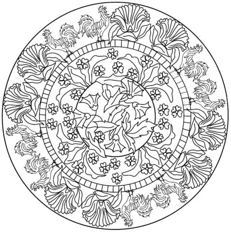 Disegno Di Mandala Con Motivo Con Gallo Da Colorare Disegni Da