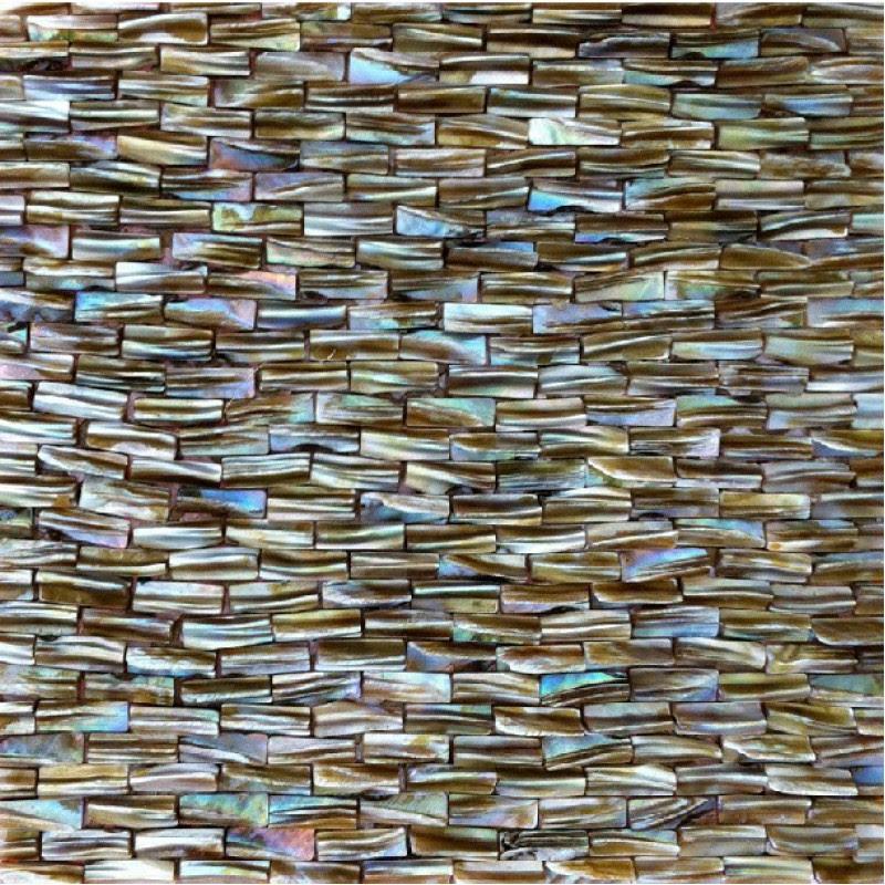 Pearl Tile Backsplash in Kitchen Brown Mother of Shell ...
