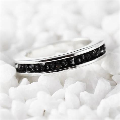 Black Diamond Ring 14k White Gold Wedding Band For Men And