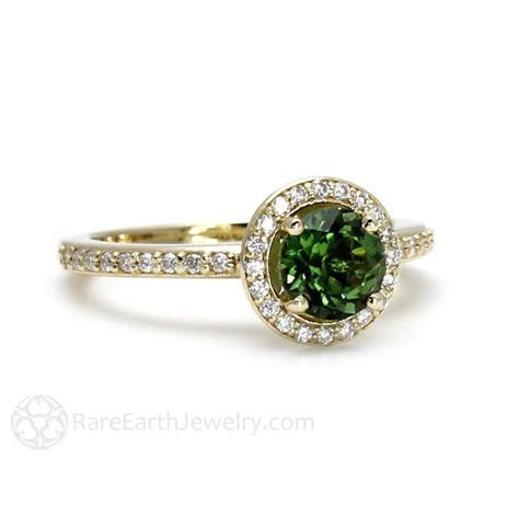 Green Tourmaline Engagement Ring with Diamond Accent