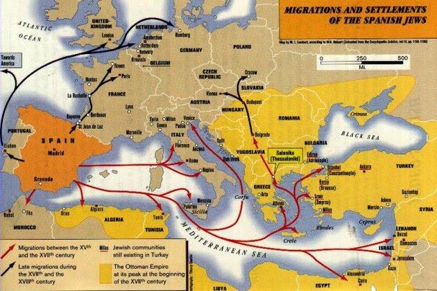 Els Reis Catòlics signen el decret d'expulsió dels jueus hispanics. Mapa de la diàspora sephardí