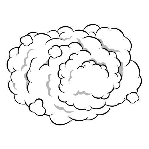 モクモクの煙のイラスト 無料商用可能マンガ素材 イラレ用epsと