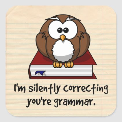 I'm Silently Correcting Your Grammar Wise Owl Square Sticker