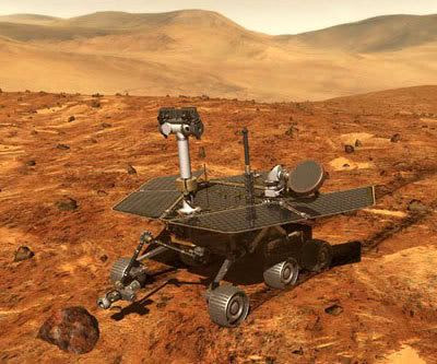 An artist's concept depicting the SPIRIT Mars Exploration Rover.
