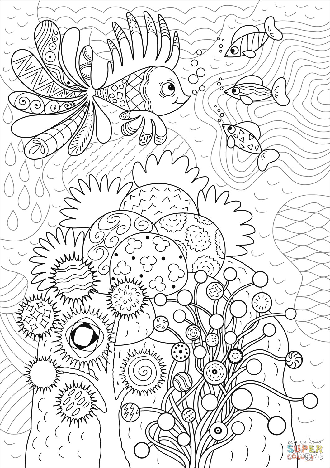 Lionfish in Coral Reef coloring page | Free Printable ...