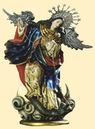 Our Lady of the Apocalypse chains the old serpent who is the devil and Satan