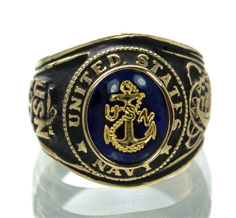 Made in USA Men's US Navy Gold Plated Military Ring Size